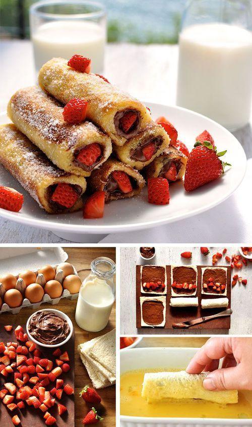 Rollos de canela con fresa y chocolate adentro